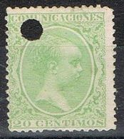 Sello 20 Cts Alfonso XIII Pelon, Telegrafos, Perforado Telegrafico, Num 220T º - Telegramas