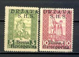 Yugoslavia, Bosnia And Herzegovina 1918 - Provisional Edition Mi.No. A 19I And A20I. - Croatie