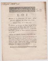 Rare Loi 1791 Numismatique Sur Le Papier Des Assignats De 500 Livres  Avec Cachet Rouge Royal N° 1174 - Documents Historiques