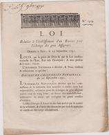 Rare Loi 1791 Numismatique Sur Bureau Echange Gros Assignats  Avec Cachet Rouge Royal N° 1319 - Documents Historiques