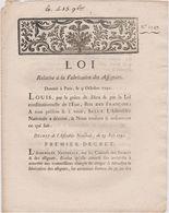 Rare Loi 1791 Numismatique Sur Fabrication Des  Assignats  Avec Cachet Rouge Royal N° 1347 - Documents Historiques