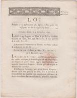 Rare Loi 1791 Numismatique Sur Fabrication Papier  Assignats  De 10 & 20 Livres Avec Cachet Rouge Royal N° 1454 - Documents Historiques