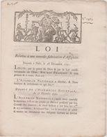 Rare Loi 1791 Numismatique Sur Nouvelle Fabrication Assignats Avec Cachet Rouge Royal N° 1463 - Documents Historiques