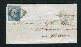 Rare Lettre De Trouville ( Calvados 1860 ) Pour Le Havre - Cachet Maritime TROUVILLE BAT A VAP - Postmark Collection (Covers)