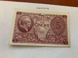 Italy 5 Lire Uncirculated Banknote 1944 #1 - [ 1] …-1946: Königreich