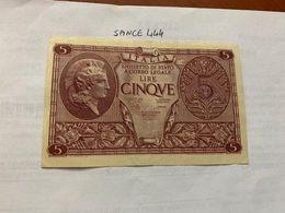 Italy 5 Lire Uncirculated Banknote 1944 #2 - [ 1] …-1946: Königreich
