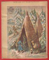 Protége Cahier Ancien Fin XIXéme Collection Moeurs Et Habitations  Les Lapons ( Typie ; Skieur ) - Protège-cahiers