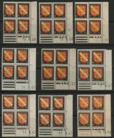 """N° 756 (x9) ** (MNH). 9 Coins Datés Différents (voir Liste En Description)  """" Armoiries Alsace """" - Coins Datés"""