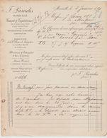 Bche Du RHÔNE: F. PARADIS, Connaissement De Saujon à Bari De 1891, Vapeur Gargano, Transport De Cognac - Transports