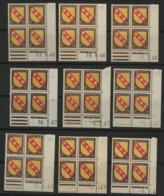 """N° 757 (x9) ** (MNH). 9 Coins Datés Différents (voir Liste En Description)  """" Armoiries Lorraine """" - Coins Datés"""