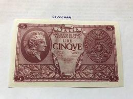 Italy 5 Lire Uncirculated Banknote 1944 #3 - [ 1] …-1946: Königreich