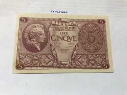 Italy 5 Lire Uncirculated Banknote 1944 #4 - [ 1] …-1946: Königreich