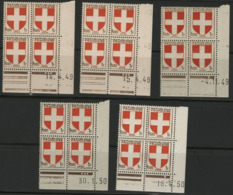 """N° 836 (x5) ** (MNH). 5 Coins Datés Du 14/4/49, 15/4/49, 4/11/49, 30/1/50 Et Du 18/4/50 """" Armoiries Savoie """" - Coins Datés"""
