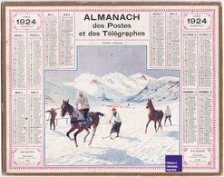 Almanach Calendrier 1924 - Thème Sport Hiver Montagne Ski Joering Cheval Département Manche Année Des JO De Chamonix B1 - Calendriers