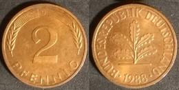 Germany FRG - 2 Pfennig 1988 G Used (ge007) - 2 Pfennig