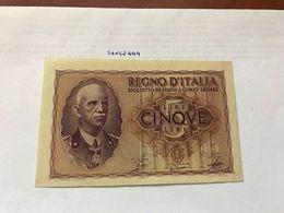 Italy 5 Lire Impero Uncirculated Banknote 1944 #1 - [ 1] …-1946: Königreich
