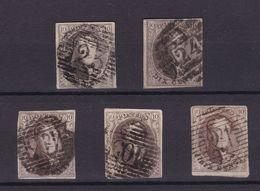 Medaillon  10 Centimes :  5 Timbres Margés Avec Défauts Perception : 23 , 24 ,113 Tamise ,105 ST Nicolas Et 21 Boussu - Belgio