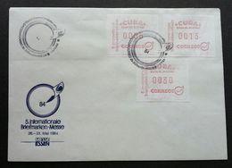 Cuba 1984 ATM (Frama Label Stamp FDC) *rare *international Stamp Expo - Cartas