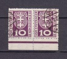 Danzig - Portomarken - 1921 - Michel Nr. 1 A Paar UR - Gestempelt - 100 Euro - Danzig