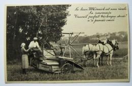 """SUPERBE CPA LIEUSE """"  MC CORMICK"""",1930,  ,MATERIEL AGRICOLE,TRACTEUR,LIEUSE - Tractores"""