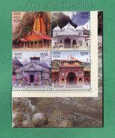 INDIA 2019 Inde Indien - CHAR DHAM - 4v Se Tenant MNH ** - HINDU TEMPLE, HINDUISM, Pilgrimage - As Scan - Hinduism