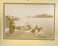 Lavandières Bords De Vienne Lot De 3 Photos 8,5 X 6 Collées Sur Carton Fort - Ancianas (antes De 1900)