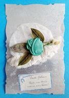 Carte Brodée Ste Catherine Bonnet  Dentelle Sur Fond Moiré - Saint-Catherine's Day