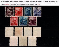 # Democratica: Carta Bianca, Filigrana Ruota 1° CS (Capovolta Sinistra) - 1946-.. République