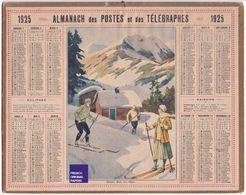 Almanach Calendrier 1925 - Thème Sport Hiver Montagne Ski Alpes Département Carte Skieur Chalet Neige Saône Et Loire B1 - Calendriers