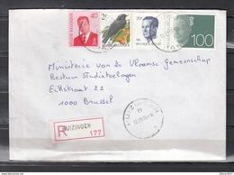 Aangetekende Brief Van Huizingen Naar Brussel - 1981-1990 Velghe