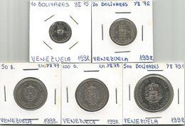 Venezuela 10 - 20 - 50 - 100 - 500 Bolivares 1998. Coin Set - Venezuela