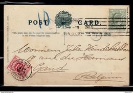 Postkaart Van Liverpool Naar Gand (Belgie) Met Takszegel Met Stempel Gand Arrivee - Storia Postale