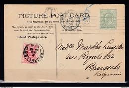 Postkaart Van London Holborn Naar Bruxelles (Belgie) Met Belgische Takszegel - Storia Postale