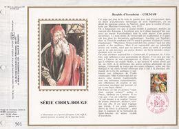 CEF Feuillet N° 795 Soie - CROIX-ROUGE - RETABLE D'ISSENHEIM - COLMAR   28 Nov 1985 - Documentos Del Correo