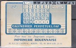 """Mini CALENDRIER PERPETUEL FAF Avec Publicité """" IMPRIMERIE ROUENNAISE """" - Calendriers"""