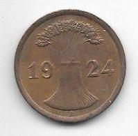 Germany  Weimar 2 Rente   Pfennig 1924  J  Km 31    Vf+ - 2 Rentenpfennig & 2 Reichspfennig