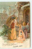 N°15429 - Carte Gaufrée - Joyeux Noël - Père Noël Et Ange Frappant à Une Porte - Otros