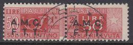 Trieste Zona A - AMG-FTT - Pacchi Su 2 Righe N.8 - Cat. 50 Euro - Usato - Luxus Gestempelt - Paketmarken/Konzessionen