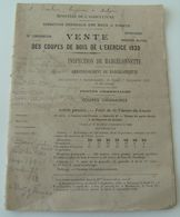 Vente De Coupes De Bois 1920 Basses Alpes Eaux Et Forêts Vintage Rétro Onf Rétro - Décrets & Lois
