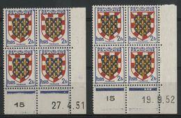 """N° 902 (x2) ** (MNH). 2 Coins Datés Du 27/4/51 Et Du 19/9/52 """" Armoiries Touraine """" - 1950-1959"""