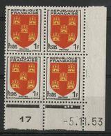 "N° 952 ** (MNH). Coin Daté Du 5/11/53. "" Armoiries Poitou "" - 1950-1959"