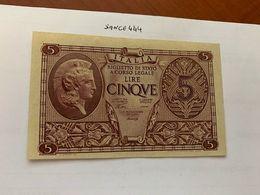 Italy 5 Lire Uncirculated Banknote 1944  #5 - [ 1] …-1946: Königreich