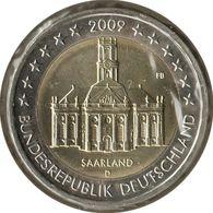 AL20009.2D - ALLEMAGNE - 2 Euros Commémo. Sarre Ludwigskirche - 2009 D - Germany