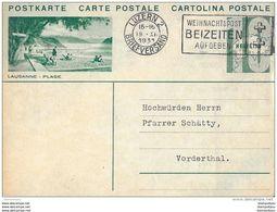 """22 - 1 - Entier Postal Avec Illustration """"Lausanne-Plage"""" Oblit Mécanique 1931 - Postwaardestukken"""