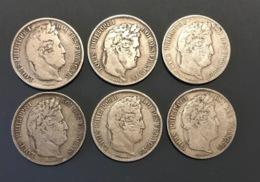 - France Lot De 6 Pièces De 5 Francs Louis Philippe I  - - France
