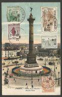 CPA Paris, Place De La Bastille, 1926 Avec 5 Timbres Differents Sur Le Devant, Vers Le Pays Bas - France