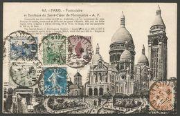 CPA Paris, Funiculaire Et Basilique Du Sacré-Coeur De Montmartre, 1926, 6 Timbres Sur Le Devant, Vers Le Pays Bas - France