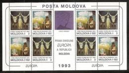1993 Moldavia Moldova EUROPA CEPT EUROPE Foglietto MNH** Con 4 Coppie Arte Contemporanea Contemporary Art Souv. Sheet - 1993