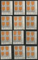 """N° 1003 (x12) ** (MNH). 12 Coins Datés (Voir Liste En Description) """" Armoiries Angoumois """" - 1950-1959"""