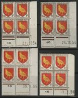 """N° 1004 (x4) ** (MNH). 4 Coins Datés Du 21/9/54, 24/12/54, 9/3/56 Et Du 30/8/55 """" Armoiries Aunis """" - 1950-1959"""